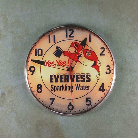 Vintage Advertising Clock Fridge Magnet Evervess Parrot Sparkling Water
