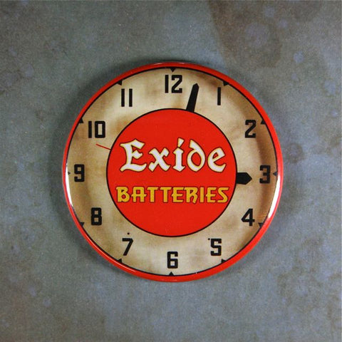 Vintage Advertising Clock Fridge Magnet  Exide Batteries