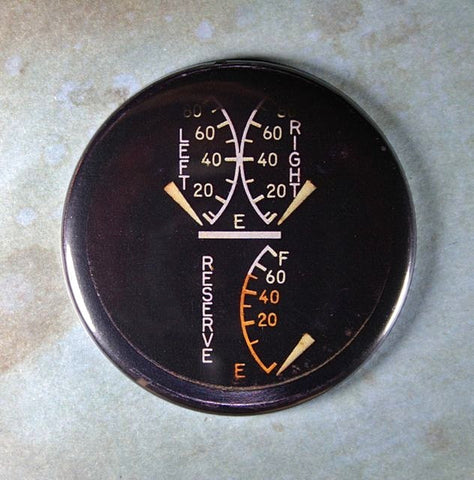Vintage Aircraft Fuel Gauge Fridge Magnet F6 Hellcat