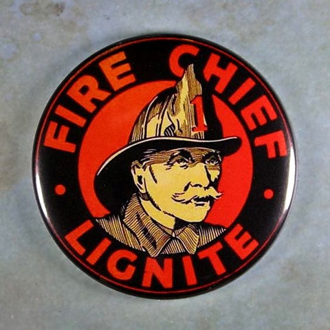 Vintage Enamel Sign Fridge Magnet Fire Chief Lignite Firetruck