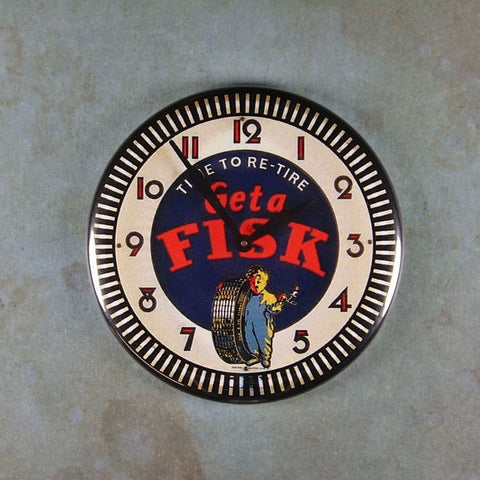 Vintage Advertising Clock Fridge Magnet Get a Fisk Tires Time to Retire