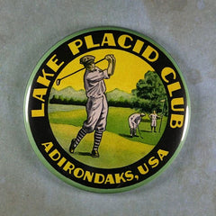 "Fridge Magnet 2 1/4"" Lake placid Golf Club Label Luggage"