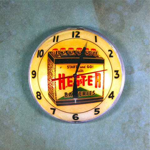 Vintage Advertising Clock Fridge Magnet  Hester Batteries