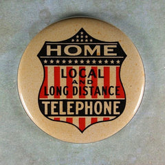 Vintage Tin Sign Fridge Magnet Home Telephone Long Distance Local