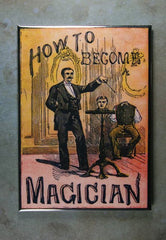 Refrigerator Magnet Vintage Book cover How to become a magician