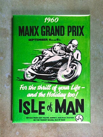 Vintage Racing Poster Fridge Magnet Motorcycle Isle of Man GP