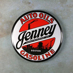 Vintage Enamel Sign Fridge Magnet  Jenney Gasoline Auto Oils