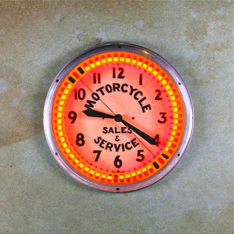 Vintage Neon Advertising Clock Fridge Magnet Motorcycle Repair