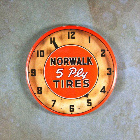 Vintage Advertising Clock Fridge Magnet  Norwalk Tires