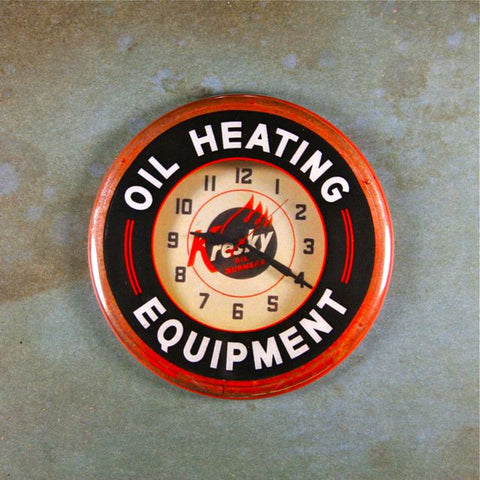 Vintage Neon Advertising Clock Kresky Oil Heating Equipment