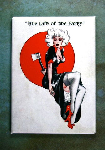Vintage Illustration  Fridge Magnet Pin-up Girl Life of the Party