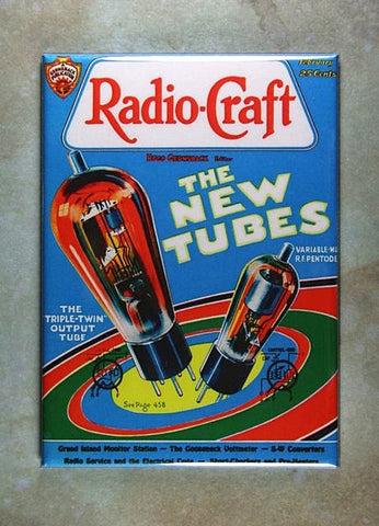 Vintage Radio Craft  Magazine Fridge Magnet Radio Tubes