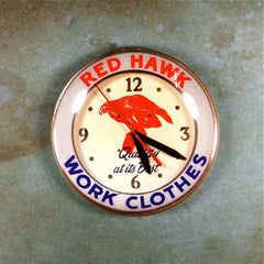 Vintage Advertising Clock Fridge Magnet Red Hawk Work Clothes