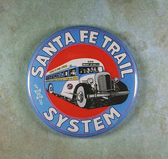 "Fridge Magnet 2 1/4"" Bus Santa Fe Trail System"