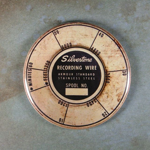 Vintage Recording Wire Fridge Magnet Silvertone Canister