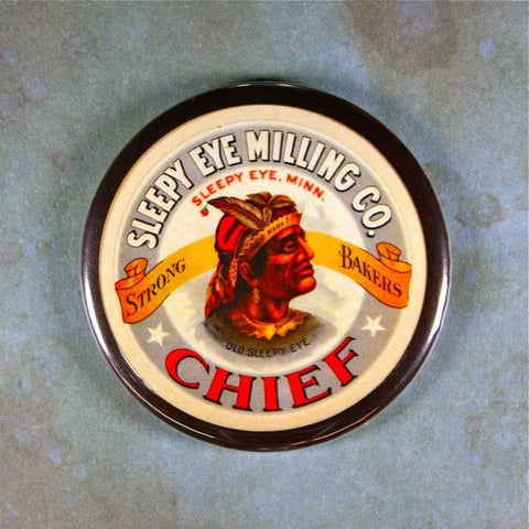 Vintage Label Fridge Magnet Chief Old Sleepy Eye Indian Head