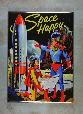 Vintage  Book Cover Fridge Magnet Space Happy Sci-Fi