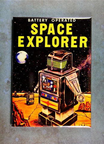Vintage Toy  Box Art Fridge Magnet Space Explorer Robot