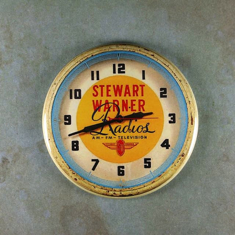 Vintage Advertising Clock Fridge Magnet Stewart Warner Radios