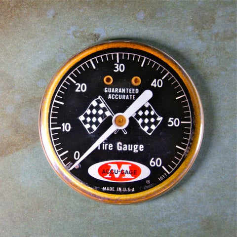 Vintage Tire Pressure Gauge Fridge Magnet Checkered Flag