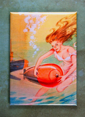 WW2 Mermaid Torpedo Propaganda Poster Fridge Magnet  Submarine