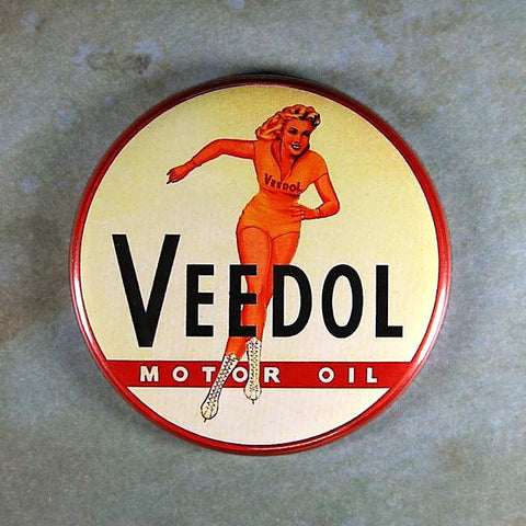 Vintage Advertising  Tin Sign Fridge Magnet Veedol Motor Oil Ice Skater