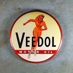 Vintage Tin Sign Fridge Magnet Veedol Motor Oil Ice Skater