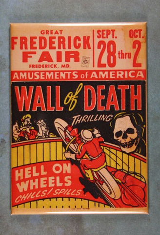 Vintage  Fairground Advertising Fridge Magnet Wall of Death