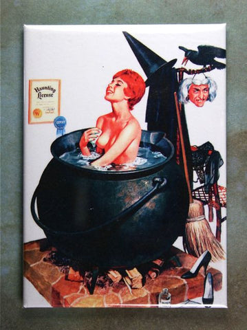 Witch in a Cauldron Vintage Halloween Illustration Fridge Magnet