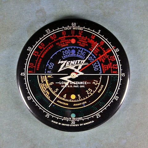 Vintage  Tube Radio Dial No.4 Zenith  Fridge Magnet Steampunk