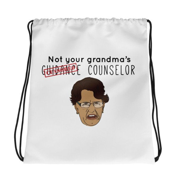 Not Your Grandma's Guidance Counselor Drawstring bag - The School Counselor Shop  Great gifts and items for school and guidance counselors. School Counseling, Counseling, School Shirts, Counseling Apparel