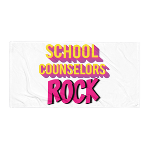 School Counselors Rock Towel - The School Counselor Shop  Great gifts and items for school and guidance counselors. School Counseling, Counseling, School Shirts, Counseling Apparel