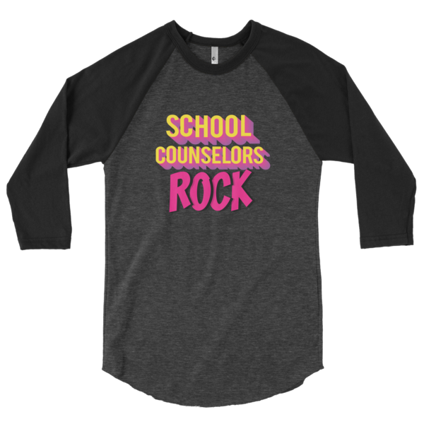 School Counselors Rock 3/4 sleeve raglan shirt - The School Counselor Shop  Great gifts and items for school and guidance counselors. School Counseling, Counseling, School Shirts, Counseling Apparel