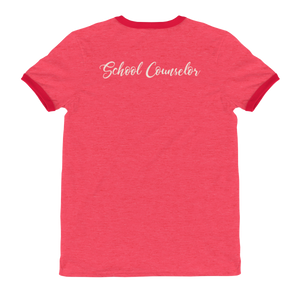 CA School Counselor 2 Ringer T-Shirt - The School Counselor Shop  Great gifts and items for school and guidance counselors. School Counseling, Counseling, School Shirts, Counseling Apparel