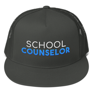 School Counselor - Otto Cap 154-1124 - Superior Cotton Twill Flat Visor Mesh Back Snapback - The School Counselor Shop  Great gifts and items for school and guidance counselors. School Counseling, Counseling, School Shirts, Counseling Apparel