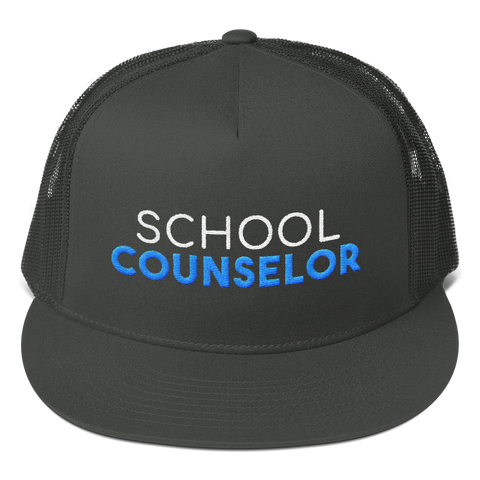 School Counselor - Otto Cap 154-1124 - Superior Cotton Twill Flat Visor Mesh Back Snapback