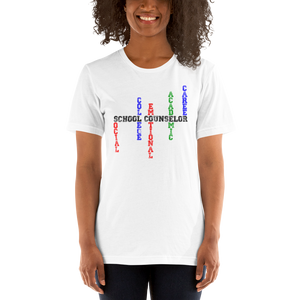 School Counselor Word Art - B+C 3001 Short-Sleeve Unisex T-Shirt - The School Counselor Shop  Great gifts and items for school and guidance counselors. School Counseling, Counseling, School Shirts, Counseling Apparel