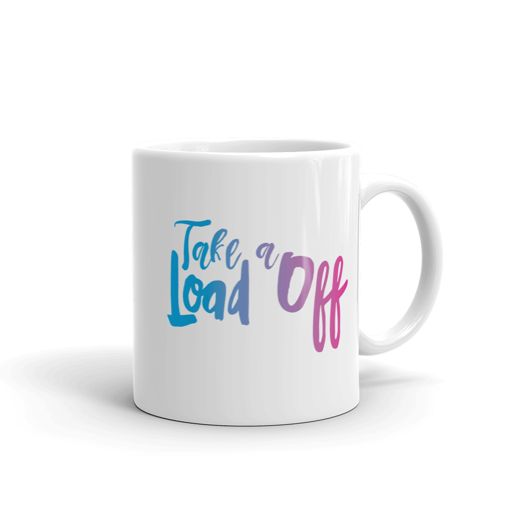 Don't Bear Your Burdens Along/Take A Load Off - Two Sided Ceramic Mug in Purple and Blue