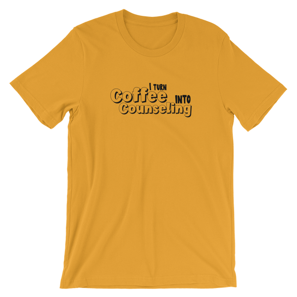 Coffee into Counseling - Unisex Premium Short-Sleeve Unisex T-Shirt - The School Counselor Shop  Great gifts and items for school and guidance counselors. School Counseling, Counseling, School Shirts, Counseling Apparel