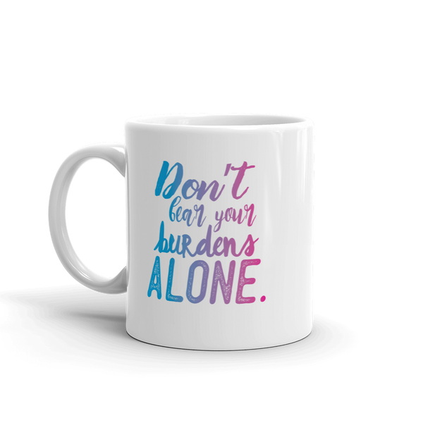 Don't Bear Your Burdens Along/Take A Load Off - Two Sided Ceramic Mug in Purple and Blue - The School Counselor Shop  Great gifts and items for school and guidance counselors. School Counseling, Counseling, School Shirts, Counseling Apparel