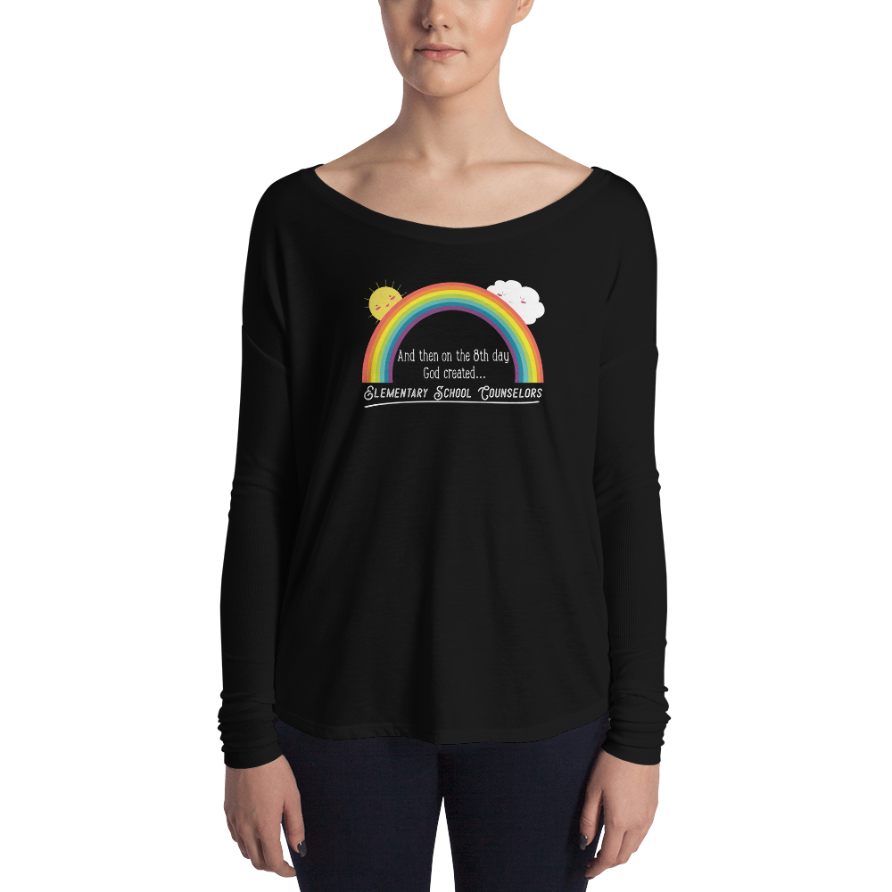 On the 8th Day - Elementary School Counselors Ladies' Long Sleeve Tee - The School Counselor Shop  Great gifts and items for school and guidance counselors. School Counseling, Counseling, School Shirts, Counseling Apparel