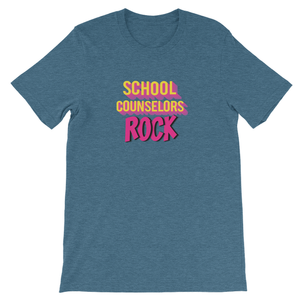 School Counselors Rock Short-Sleeve Unisex T-Shirt - The School Counselor Shop  Great gifts and items for school and guidance counselors. School Counseling, Counseling, School Shirts, Counseling Apparel