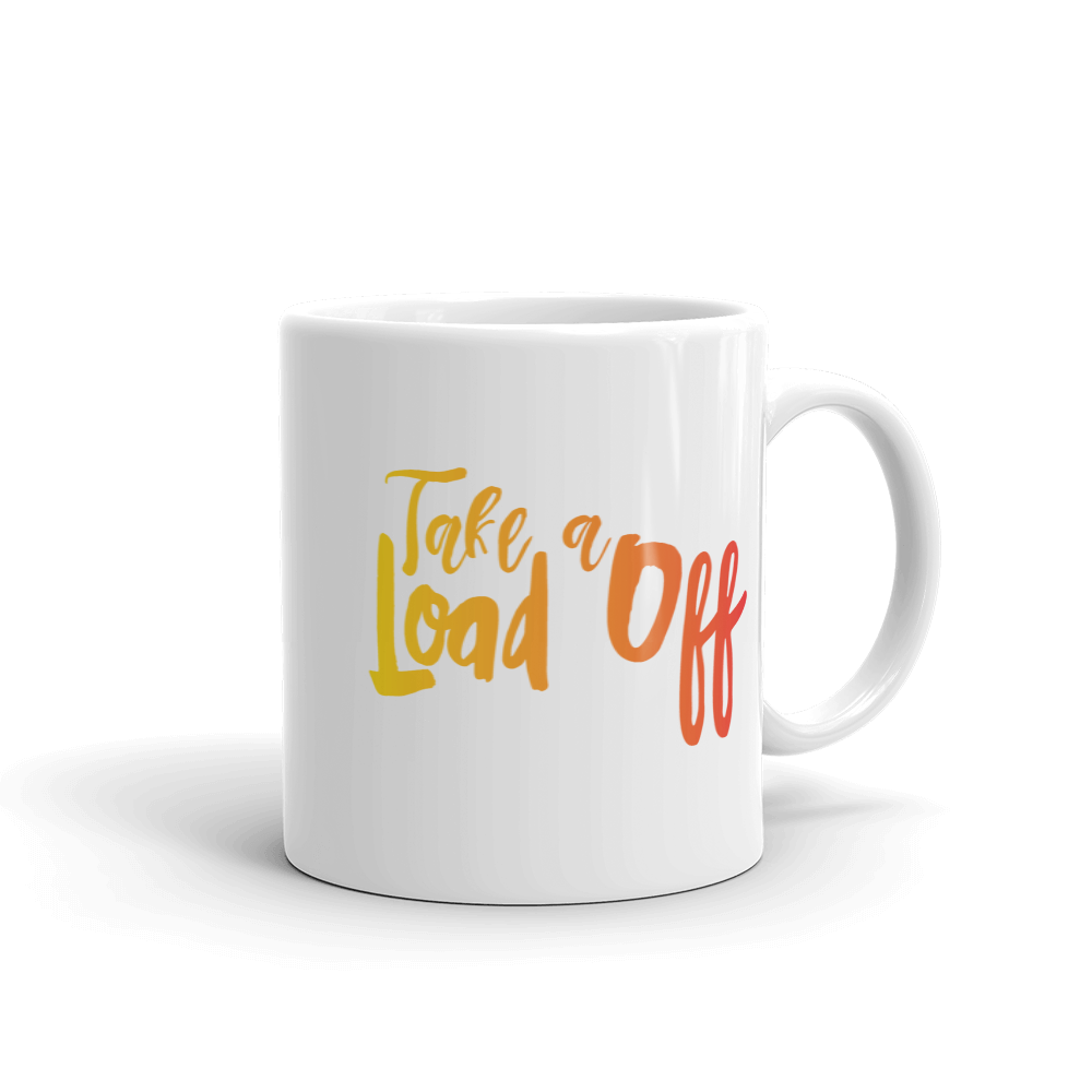 Don't Bear Your Burdens Alone/Take A Load Off - Two Sided Ceramic Mug in Yellow and Orange - The School Counselor Shop  Great gifts and items for school and guidance counselors. School Counseling, Counseling, School Shirts, Counseling Apparel