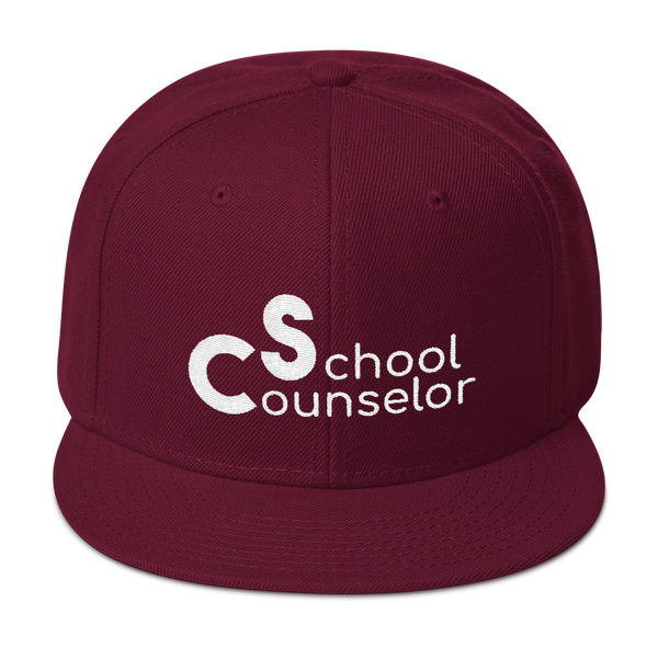 School Counselor 3D Partial Puff Light Snapback Hat - The School Counselor Shop  Great gifts and items for school and guidance counselors. School Counseling, Counseling, School Shirts, Counseling Apparel