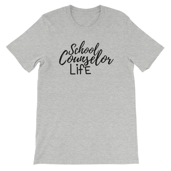 School Counselor Life (Dark Text) Bella + Canvas Unisex short sleeve t-shirt - The School Counselor Shop  Great gifts and items for school and guidance counselors. School Counseling, Counseling, School Shirts, Counseling Apparel