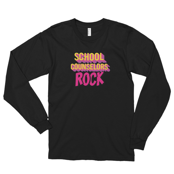 School Counselors Rock Long sleeve t-shirt (unisex) - The School Counselor Shop  Great gifts and items for school and guidance counselors. School Counseling, Counseling, School Shirts, Counseling Apparel