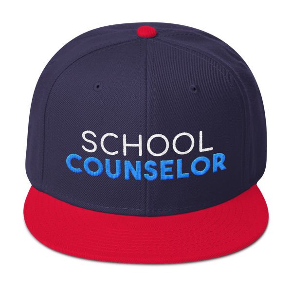 School Counselor - Otto Wool Blend Snapback - The School Counselor Shop  Great gifts and items for school and guidance counselors. School Counseling, Counseling, School Shirts, Counseling Apparel
