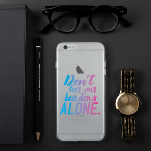 Don't Bear Your Burdens Alone - iPhone Case TPU and PC in Blue to Purple - The School Counselor Shop  Great gifts and items for school and guidance counselors. School Counseling, Counseling, School Shirts, Counseling Apparel