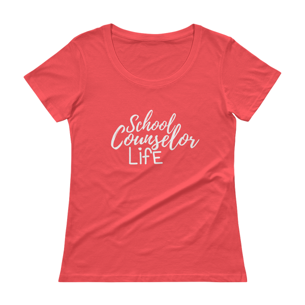 School Counselor Life (Light Text) Anvil Ladies' Scoopneck T-Shirt - The School Counselor Shop  Great gifts and items for school and guidance counselors. School Counseling, Counseling, School Shirts, Counseling Apparel