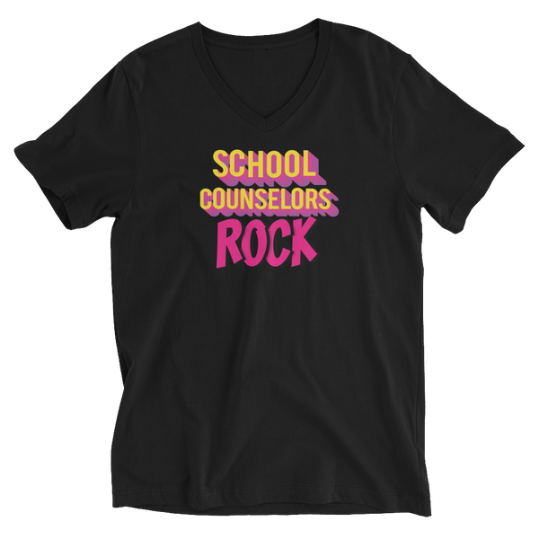 School Counselors Rock Unisex Short Sleeve V-Neck T-Shirt - The School Counselor Shop  Great gifts and items for school and guidance counselors. School Counseling, Counseling, School Shirts, Counseling Apparel